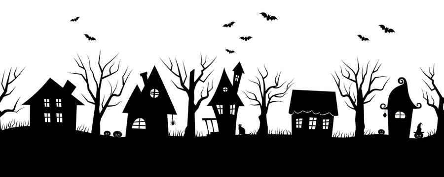 Halloween houses. Spooky village. Seamless border. Black silhouettes of houses and trees on a white background. There are also bats, pumpkins and a cat in the picture. Vector illustration