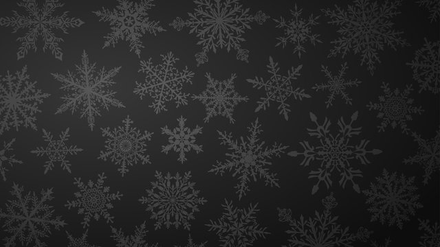 Christmas background with various complex big and small snowflakes in black colors