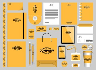 Fotobehang Draw Stationery Mockups Customizable Vector Graphics for Office Professional Branding