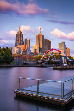 Melbourne City Skyline Sunset Pink Clouds, View From Southbank Yarra River