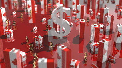 Canadian Real estate housing property market mortgage interest rates - 3D illustration rendering Fototapete