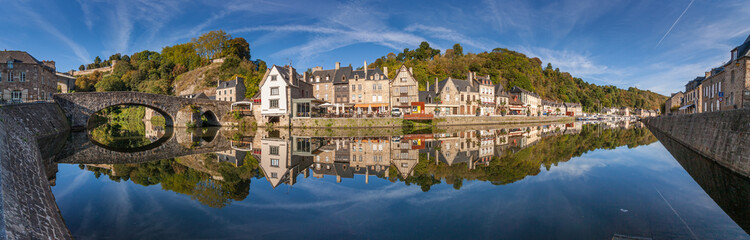 Panorama of the reflections in La Rance (River), Dinan, France.