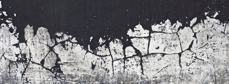 old black paint texture peeling off concrete wall for banner background