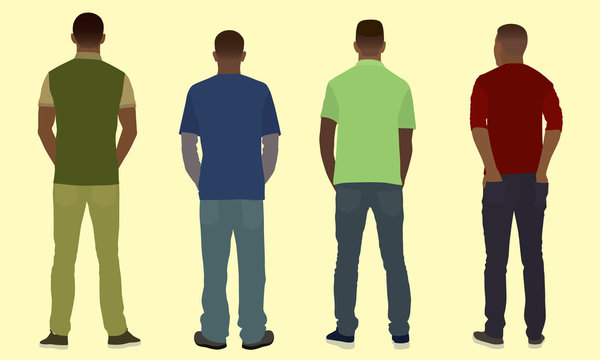 Young Black Men Viewed from the Back