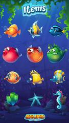 Mahjong fish world - set of cartoon funny fish
