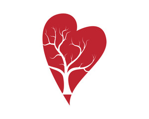 Love tree with heart leaves vector