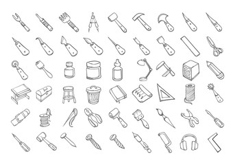 Set of Craft tool icons Drawing illustration Hand drawn doodle Sketch line vector eps10