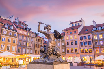 Sculpture of the Warsaw Mermaid on the Old Town Market square