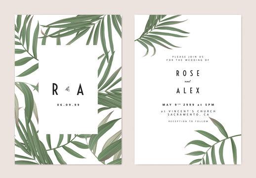 Minimalist botanical wedding invitation card template design, green bamboo palm leaves pattern on white