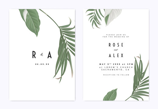 Minimalist botanical wedding invitation card template design, green bamboo palm leaves and Syngonium podophyllum albo-variegatum plant on white
