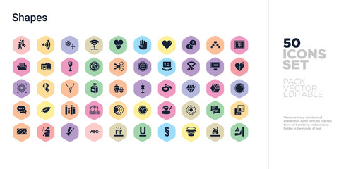 50 shapes vector icons set in a colorful hexagon buttons Wall mural