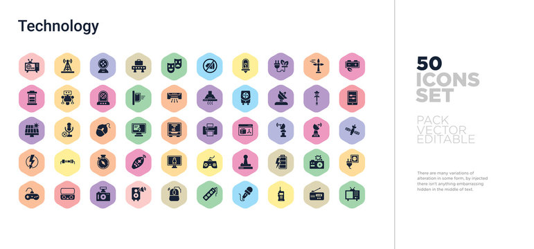50 technology vector icons set in a colorful hexagon buttons