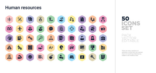 50 human resources vector icons set in a colorful hexagon buttons
