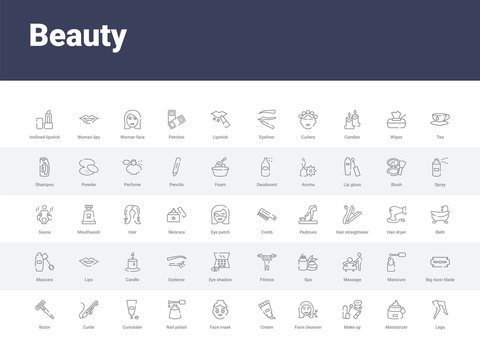 50 beauty set icons such as legs, moisturizer, make up, face cleanser, cream, face mask, nail polish, concealer, curler. simple modern vector icons can be use for web mobile