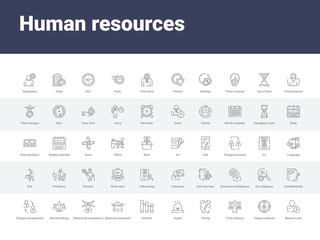 50 human resources set icons such as remove user, target audience, time balance, timing, urgent, attrition, balanced scorecard, behavioral competency, benchmarking. simple modern vector icons can be