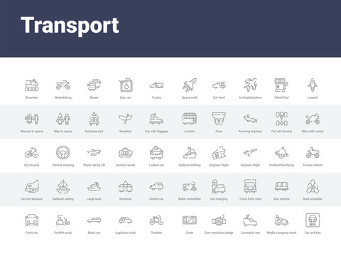 50 transport set icons such as car and key, media company truck with satellite, journalist van, zero emission badge, crate, tandem, logistics truck, black car, forklift truck. simple modern vector