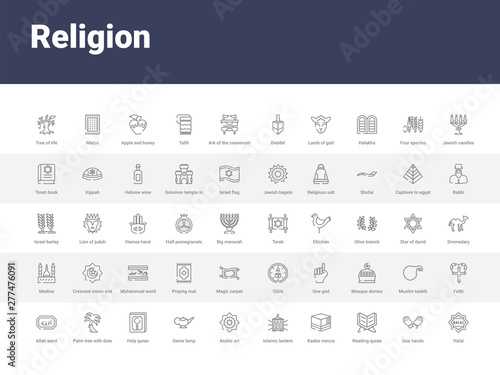 50 religion set icons such as halal, dua hands, reading