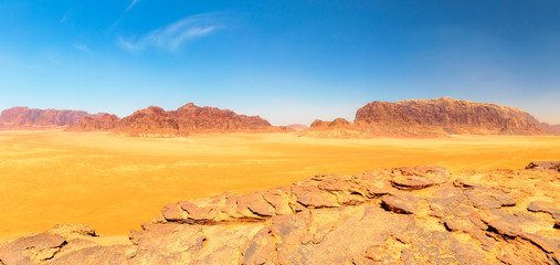 Wadi Rum - The Red Desert Central Plateau (West Panorama)