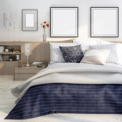 Cute bedroom interior with template frames (focused) - 3d illustration