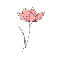 Abstract flower in one line art drawing style. Vector illustration