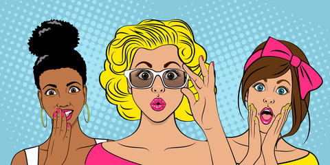 Surprised girls on colored backgrounds. Wow people. Sale. Vector illustration in pop art style