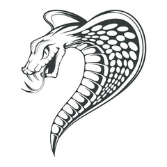 Black King Cobra logo. Snake Tattoo. Indian cobra illustration, drawing. Vector illustration, aggressive and evil spectacled cobra or Naja naja. Vector graphics to design