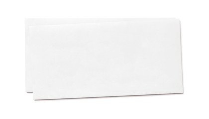 Simple blank white envelope isolated, front view. The narrow long size. Two pieces pack. One on top of the other.