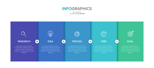 Obraz Vector infographic label template with icons. 5 options or steps. Infographics for business concept. Can be used for info graphics, flow charts, presentations, web sites, banners, printed materials. - fototapety do salonu