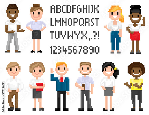 Man and woman pixel characters, full length and portrait