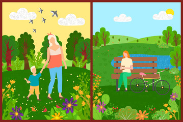 Mom and son walking in park, woman character sitting on bench with bicycle, flowers and trees, leisure of people outdoor, sunny day, green nature vector