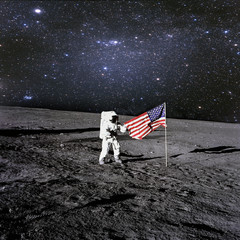 American astronaut landed and set his national flag on the plane.t. Elements of this image furnished by NASA