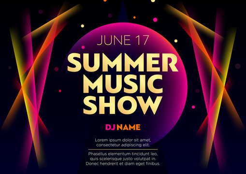 Horizontal summer music show poster with bright color graphic elements, dark background and text.