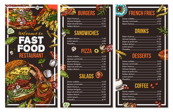 Fast food vector menu template in sketch style. Design for restaurant menu with hand drawn illustrations of burger, drink, french fries, pizza on chalckboard