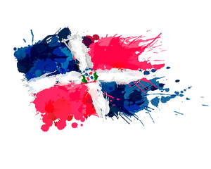 Flag of Dominican Republic made of colorful splashes