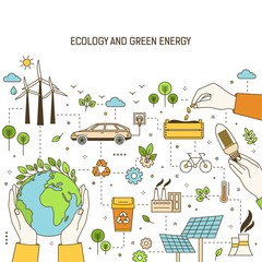 Square banner template with hands holding planet, lightbulb and seeds surrounded by wind and solar power plants, electric car. Green energy, electricity generation. Modern linear vector illustration.