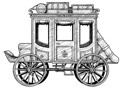 Stagecoach illustration, drawing, engraving, ink, line art, vector