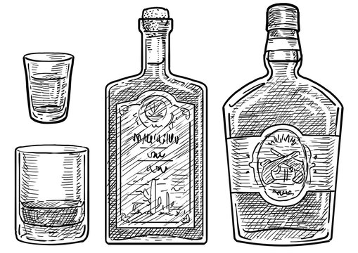 Whiskey and rum illustration, drawing, engraving, ink, line art, vector