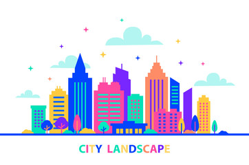 Fotomurales - City landscape. Silhouettes of buildings with neon glow and vivid colors. City landscape template. Flat style illustration in neon vivid colors. Cityscape background, Urban life.