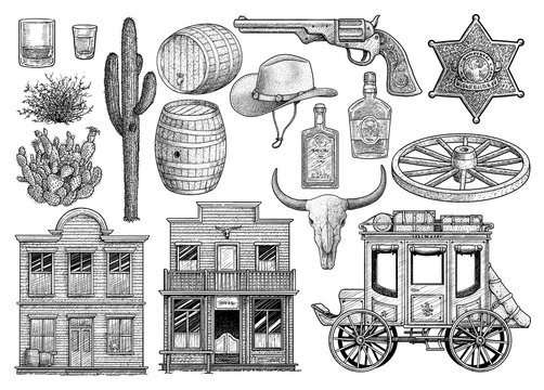 Western object collection, illustration, drawing, engraving, ink, line art, vector