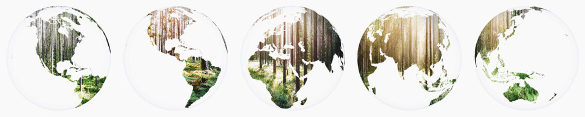 Wall Mural - Planet Earth forest globe set