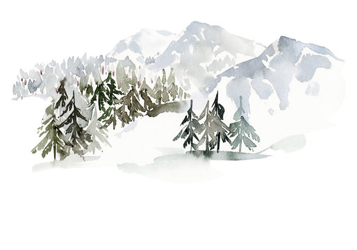 Christmas winter watercolor landscape with mountains and trees