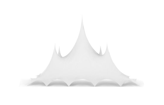 Marquee tent vector 3d illustration on white. Circus tent mock-up