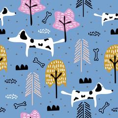 Cute dog seamless pattern drawing animal illustration. Trendy scandinavian art cartoon background.