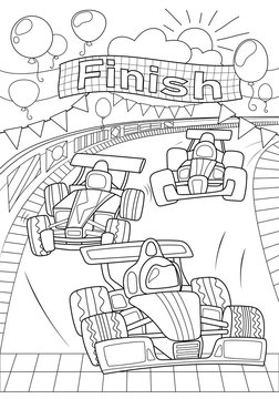 Car race coloring page. Formula 1 black line vector illustration on white background. Speed car on finish. Racing children coloring book
