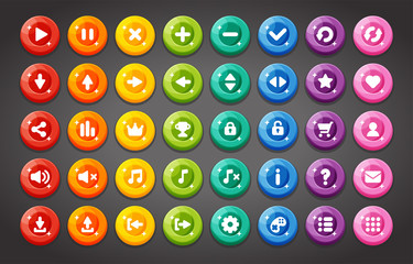 Flat round game buttons in flat cartoon style