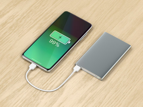 Charging the smartphone with external battery.