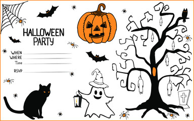 Invitation to a halloween party in doodle.Isolated objects on a white background with a pumpkin,evil bats,ghost,spiders,cobwebs,a scary tree with the hanged man.Can be used for invitations,cards