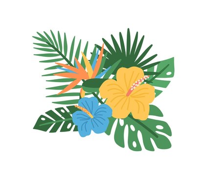 Elegant natural composition with blooming tropical flowers and exotic palm tree leaves isolated on white background, Floral decorative design element