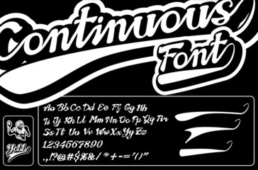 Continuous font, digits and symbols. Seamless baseball and football alphabet. Curve swooshes and football player sign. Hand drawn letters. Original autor's font.