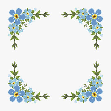 Floral greeting card and invitation template for wedding or birthday anniversary, Vector square shape of text box label and frame, Blue flowers wreath ivy style with branch and leaves.